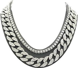 Shiny Jewelers USA 男式 Iced Out Hip Hop 银色方晶锆石迈阿密古巴链项圈项链