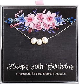 ALoveSoul 30 岁生日礼物 - 3 周年珠宝 30 岁 3 颗珍珠 925 纯银项链适合女生,1990 年生日礼物创意