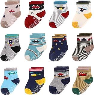Kids Grips Socks 幼童防污脚踝婴儿男孩女孩卡通棉袜 12 双