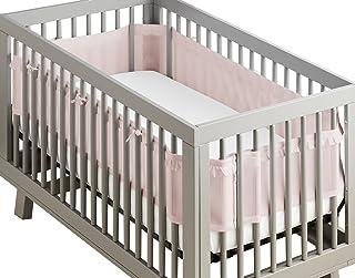 BreathableBaby 奢华透气网状婴儿床衬垫 – *认可 – 帮助防止手臂和腿在婴儿床板之间卡住。 粉色荷叶边