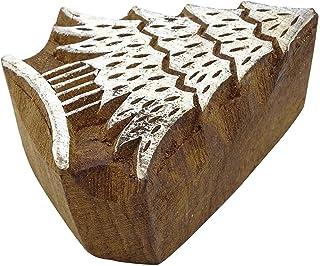 """木质块装饰性圣诞树纺织印章棕色积木印花 设计 #1 2"""" x 1.7"""" Inches PB2605A"""