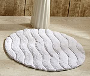 Better Trends / Pan Overseas Indulgence 220 GSF 100-Percent Cotton Oversized Sculpted Tufted Bath Rug, 30-Inch, White