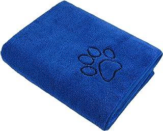 SUNLAND 狗狗毛巾超吸水宠物浴巾超细纤维双*狗狗干毛巾 适用于小型中型大型狗狗和猫 76.2 厘米 x 127 厘米 蓝色