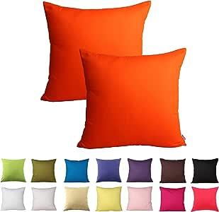 Queenie - 2 件纯色棉装饰枕套靠垫套沙发抱枕套 14 种颜色和 5 种尺寸可选 橙色 24 x 24 inch (60 x 60 cm)