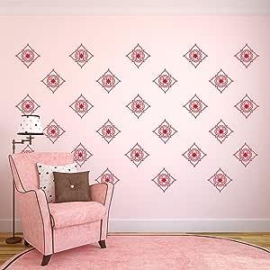 """一套 20 张乙烯基墙壁艺术贴花 - 漂亮的花朵图案 - 12.7 cm x 12.7 cm - 卧室客厅办公室宿舍房间少女家居装饰 - 时尚的公寓贴纸贴纸 红色 5"""" x 5"""" each FLOWERPATTERNS"""