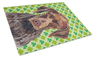 Caroline's Treasures German Shorthaired Pointer St.Patrick's Day Shamrock Glass Cutting Board, Large, Multicolor