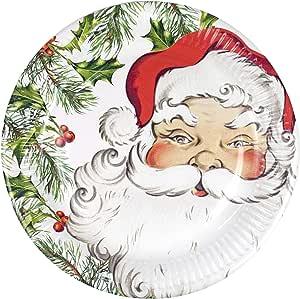 "Christmas Plates 圣诞纸盘圣诞节派对用品晚餐盘22.86cm 圣诞老人 红色 9 "" BC-SANTA-PLATE"