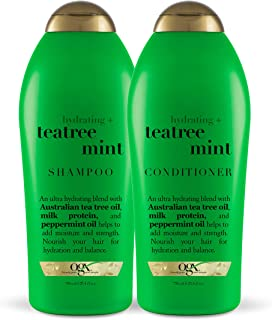 Ogx 保湿+茶树薄荷洗发水和护发素,25.4盎司/750毫升(2件套)