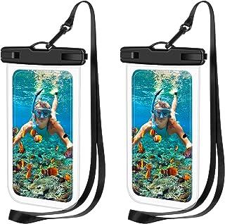 无品牌 2 件通用防水手机壳,防水袋,水下干燥袋,适用于 iPhone 11/11 Pro/11 Pro Max/XR/SE/XS/8 7 6S Plus,三星 Galaxy 和其他手机 高达 6.9 英寸-黑色