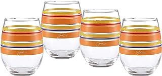 官方*的 Fiesta 条纹 425.40 克无茎酒杯(4 件套) Sienna Sunset Collection 15 盎司