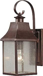 Elk 47001/1 6 x 16 英寸(约 15.2 x 40.64 厘米)1 个方形 1 灯玻璃户外壁,榛子青铜饰面 需配变压器