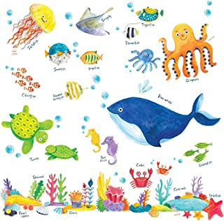 Decowall Under The Sea 儿童墙贴墙贴即剥即贴可撕墙贴适用于儿童托儿所卧室客厅(1311 1611 8009 8027) Under the Sea Medium_1311 DW-1311