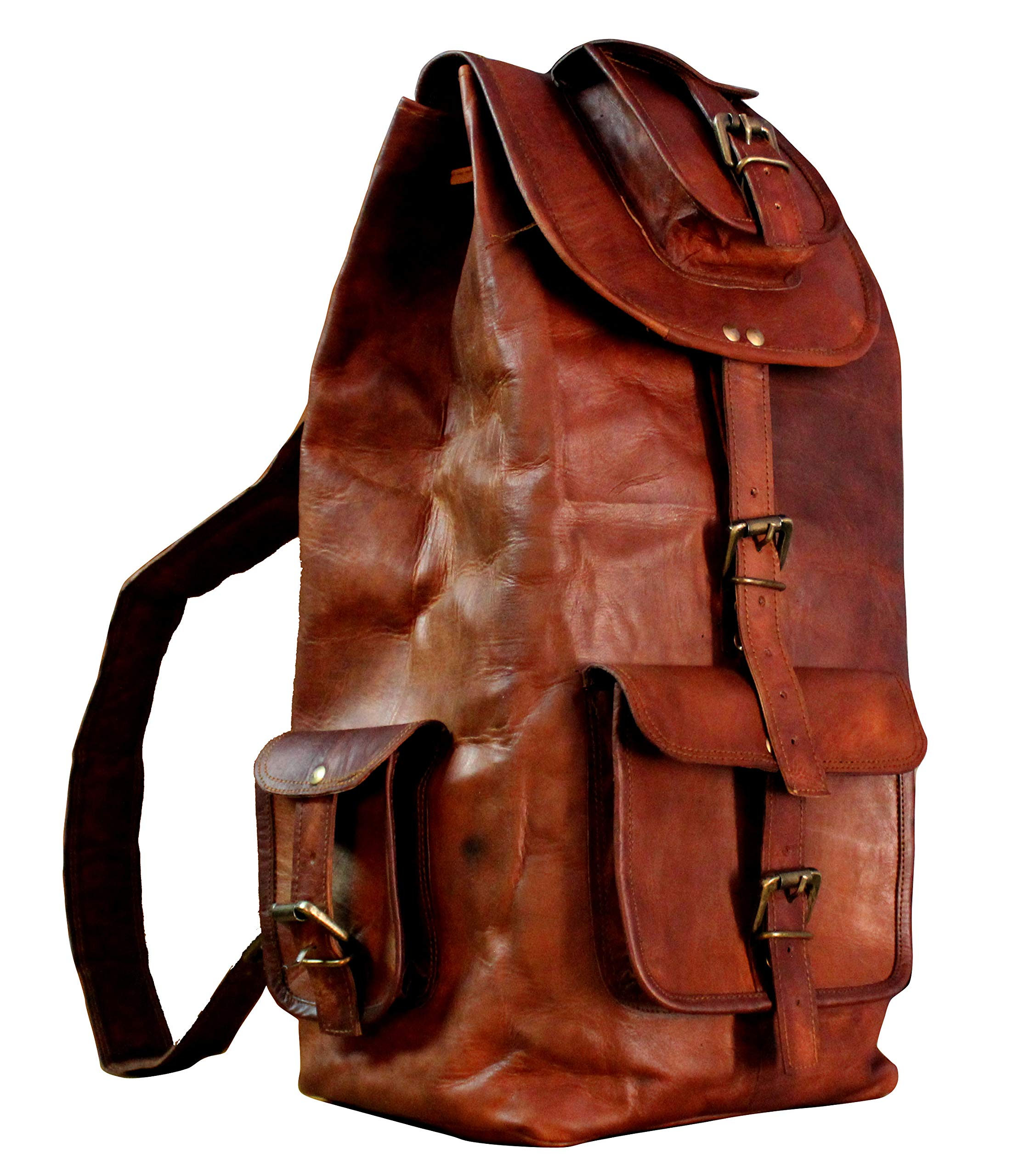 Leder_artesanía 50.8 cm 棕色复古皮革学院背包笔记本电脑邮差包帆布背包,男式女式