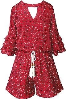 Smukke,大女孩补间多层褶边七分袖连身衣口袋,7-16