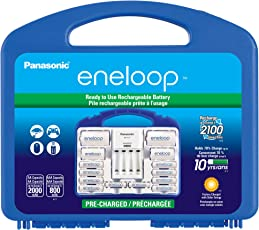 """Eneloop 松下 KJ17MCC82A电源组,8AA,2AAA,2 C适配器,2 D适配器,""""高级""""独立电池充电器和塑料存储盒"""
