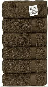 Chakir 土耳其亚麻酒店和水疗品质,高吸水毛巾套装 可可色 Hand Towel - Set of 6