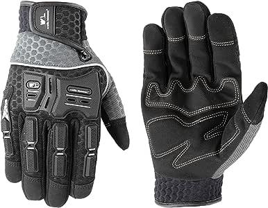 Wells Lamont 男士合成皮革高炫酷手套带关节保护 中 7682M