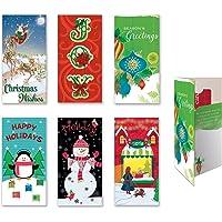 """各种装饰假日礼品卡和钱夹卡,一套 6 张卡片,适合圣诞节使用 3.5"""" W x 7"""" H 6.00"""