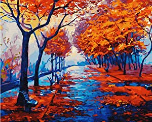 DIY 油画,编号套件绘画 - 浪漫秋季爱 40.64 x 50.8 厘米 Love Autumn (2) Framed On Canvas digital oil painting