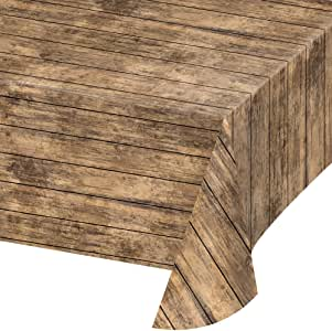 Creative Converting 329655 全身印花塑料桌布,棕色木 棕色木 NA 329655
