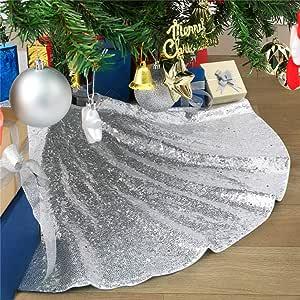 B-COOL 金色圣诞树裙序圣诞树裙摆 91.44 厘米圆形亮片树裙个性化圣诞装饰家居装饰裙 银色 24inch 24R silver-CTS29