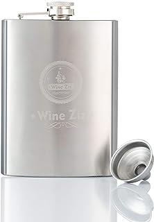 Wine Ziz 不锈钢随身酒壶,带漏斗,226.8 克防漏酒瓶,男女皆宜,便携式迷你旅行酒精瓶,适用于威士忌、伏特加、波本酒、朗姆酒等,银色