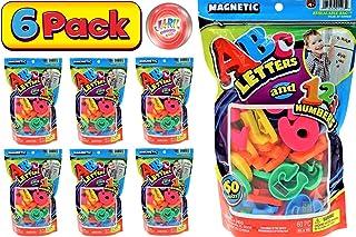 JA-RU ABC 磁性字母和数字袋 60 件装(6 个袋子)学习字母磁铁适用于冰箱娱乐和拼写游戏玩具。 *的派对礼品玩具。 加 1 个弹力球。 1403-6p