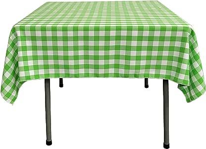 LA Linen 方格覆盖桌布,147.32 x 147.32 厘米 石灰绿 TCcheck58X58Lime