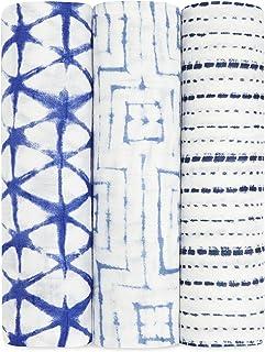 aden + anais 絲質柔軟襁褓 靛藍色 三支裝