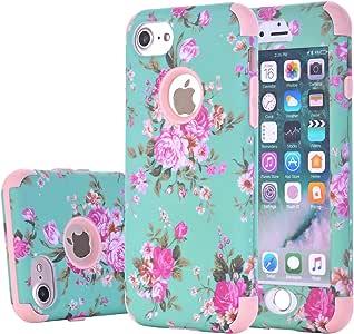 iPhone 7 花卉手机壳,Harsel 复古花卉[防震] 3 合 1 坚固的混合装甲硅胶 TPU 和塑料坚固的重型防撞高强度耐用手机壳适用于 Apple iPhone 74335004346 橙色
