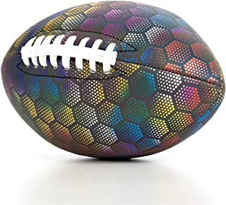 YANYODO 反光美式足球,*抓地力,照相机闪光灯,合成足球适合青少年学院(尺码 3)