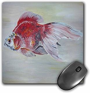 3dRose 鼠标垫 Ryukin 金鱼 - 金鱼、莱明、鱼、水族箱鱼、淡水鱼、红白鱼 - 20.32 x 20.32 厘米 (mp_46749_1)