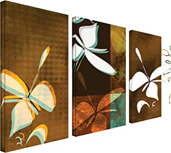 Art Wall 3-Piece Espresso Florals by Jan Weiss Gallery Wrapped Canvas Artwork, 36 by 54-Inch