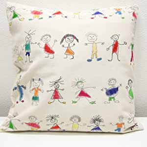 北欧风格 刺绣 拼接 靠垫套(45×45) 子供たち hostai005