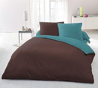 Home Passion 3 件套床上用品被套 220 x 240 cm 240 x 220 cm,巧克力色/蓝绿色超细纤维巧克力色/蓝绿色