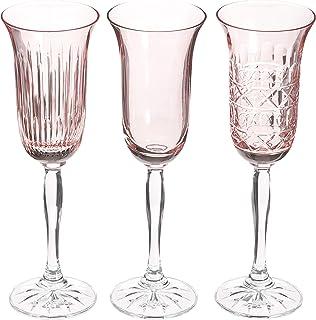 Crystaljulia 14686 香槟杯 3 件套,水晶,浅粉色