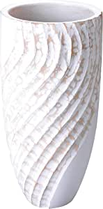 Villacera 平底白色手工制作 30.48cm 高圆形棕色芒果装饰波浪雕刻 V 形花瓶 – 环保且可持续木制, 白色 不适用 83-DT5844