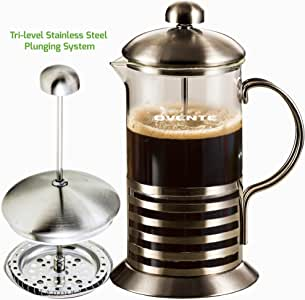 Ovente FSH34S Series Stainless Steel French Coffee Press, 34 oz., Horizontal, Stainless Steel