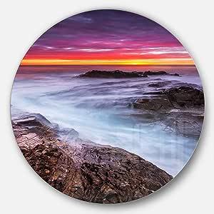 Designart MT10638 C11 Stormy Seashore 彩色天空沙滩圆盘墙壁艺术圆盘 11X11 - Disc of 11 inch MT10638-C11