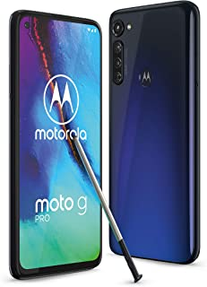 moto g pro Dual-SIM 智能手机(6.4\-Max Vision-FHD显示屏无缺口,48 MP三倍摄像头系统,128 GB/4 GB,Android 10)蓝色包括保护盖+手写笔[亚马逊*]
