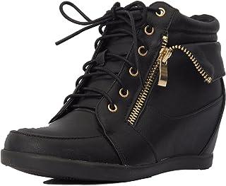 Lucky Top 女孩 Peter-30K 儿童时尚人造革系带高帮坡跟运动鞋短靴