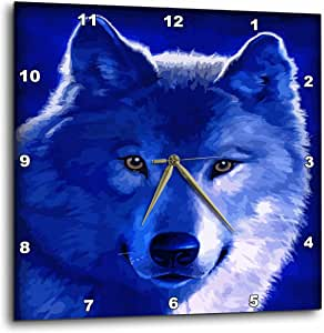 3dRose dpp_18916_3 Blue Wolf-Wall Clock, 15 by 15-Inch