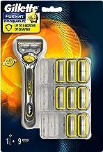 Gillette 吉列 適用于男士的Fusion5 ProShield剃須刀 9刀片 在刀片前后有5個防摩擦替換刀片 有潤滑劑