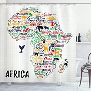 Quote Shower Curtain by Ambesonne, Colorful Lettering of African Countries in Africa Continent with Animals Art Print, Fabric Bathroom Decor Set with Hooks, 75 Inches Long, Multicolor