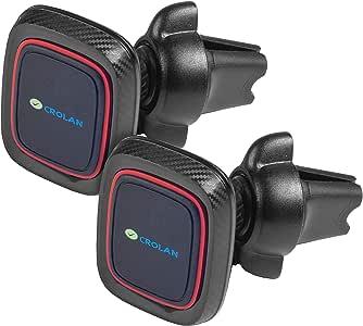 磁性手机车载安装通风夹 | 通用通风手机支架 | 可调节*紧固和扭锁系统 | 内置 6 个强力磁铁,可紧握、牢固的智能手机支架,黑色 2组 黑色
