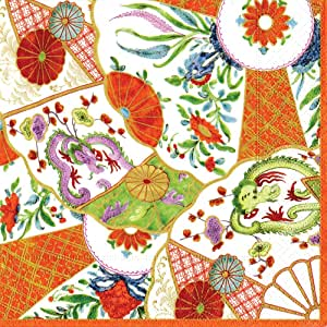 Caspari Entertaining 20-Pack Imari Coral Cocktail Napkins