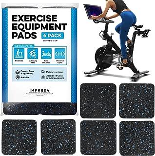 IMPRESA 运动设备垫 10.16 厘米 x 10.16 厘米 x 1.27 厘米垫子 6 件装 - 跑步机垫适用于地毯保护 - 防滑跑步机垫 适用于硬木地板和地毯的保护性防滑跑步机 - 家用健身配件