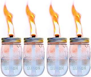 4 件装玻璃梅森罐 Tiki 桌手电筒,驱蚊香茅油手电筒,露台花园派对婚礼装饰手电筒灯 银色 4 Pack Glass Mason Jar Torch(Jar Include)