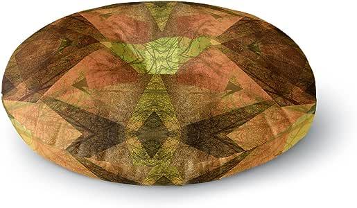 "KESS InHouse Pia Schneider 图案花园 No7 绿色多色混合媒体圆形地板枕,58.42cm x 58.42cm 多种颜色 26"" x 26"" PS1039ARF02"