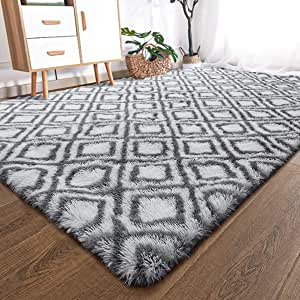 YOH Shag 地毯几何格子地毯毛绒地毯装饰地毯